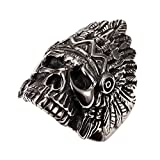 PAURO Cool Feather Dayak Indian Headdress Punk Skull Stainless Steel Mens Boys Ring Size 13