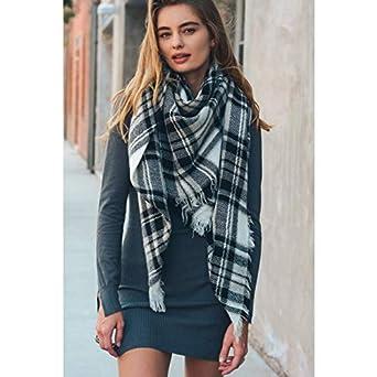 TSW Womens Plaid Blanket Winter Scarf Warm Cozy Tartan Wrap Oversized Shawl Cape