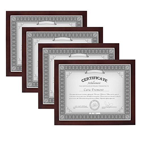 ery Wood Document Frame Set for Customizable Wall Display, 8.5 x 11, 4 Pack, Walnut Brown (Gallery Diploma Frame)