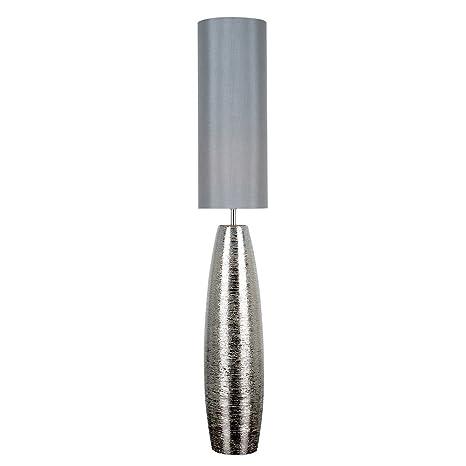 quality design a6b05 e0ec7 Modern Textured Metallic Chrome Effect Ceramic Floor Lamp with a Grey  Fabric Light Shade