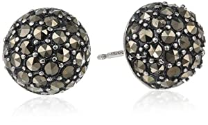 Sterling Silver Oxidized Marcasite Half-Ball Shape Stud Earrings from PAJ, Inc