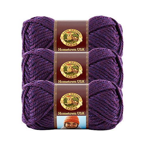- (3 Pack) Lion Brand Yarn 135-148E Hometown USA Yarn, Portland Wine