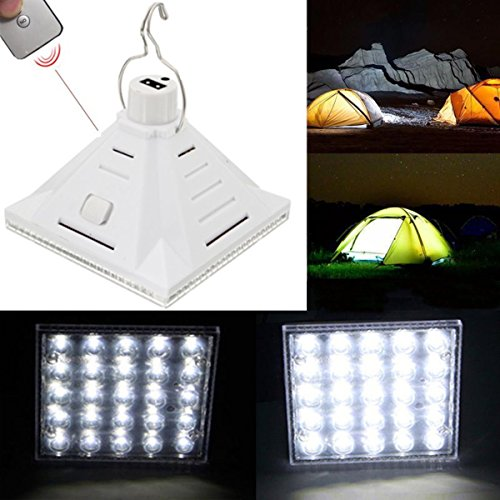 25LED White Solar Powered Camping Lamp Remote Control Han...