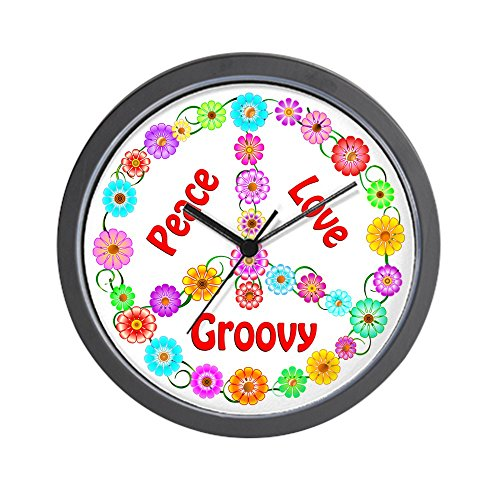 Groovy Peace Sign Wall Clock - Unique Decorative - Hippie wall decor