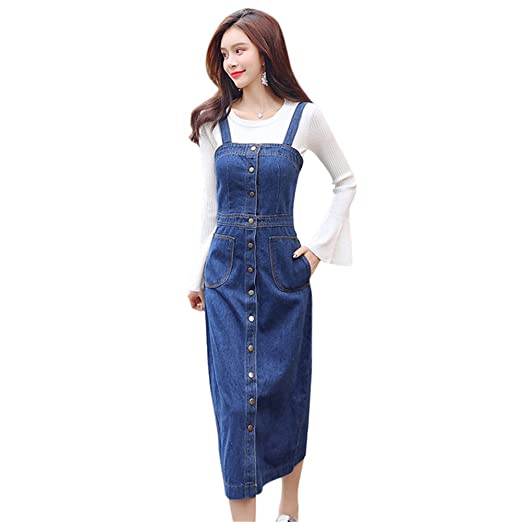9e754270b6 Drasawee Women Casual Suspender Denim Skirt Long Buttons Overalls Jean Dress  S Blue