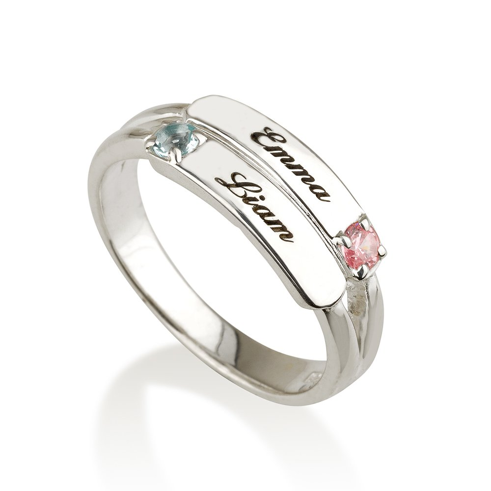 Mothers Ring Engraved Birthstone Ring 2 Stones Ring 925 Sterling Silver Personalized /& Custom Made Personalized Necklaces