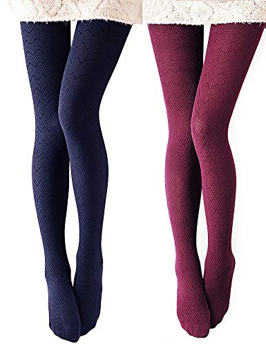 - VERO MONTE 2 Pairs Women's Modal & Cotton Opaque Knitted Patterned Tights (Wine & Navy) 40863