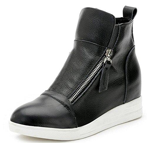 Wedges Sneakers for Women Leather, High Hidden Heel Zip up Walking Sneakers (8, Black)