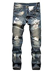 Product Description: *Cotton & Denim *Stylish & Comfortable *Mix them into your weekend wardrobe with a tee and sneakers.  *Slim Fit Biker Jeans with Zips Crafted with stone wash, is subtly distressed and has ribbed panels for a tacti...