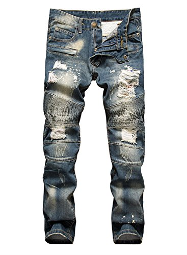 Aiyino Men's Slim Zipper Biker Jeans Moto Denim Pants (US 34, Navy Blue)