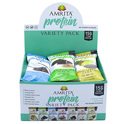 Paleo HIGH PROTEIN Variety Pack with 7 Flavors - No Added Sugar Zero Sweeteners, Gluten Soy and Dairy-Free, Non-GMO Certified - Vegan, Raw and Kosher - Pack of 12 bars by Amrita by Amrita Health Foods