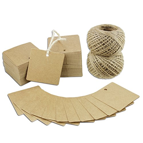 Paper Tags 200 PCS Square Kraft Gift Tags Blank Label with Jute Twine for Handmade Party Favors as Thank You Card Vintage Brown Price Tags (Brown)