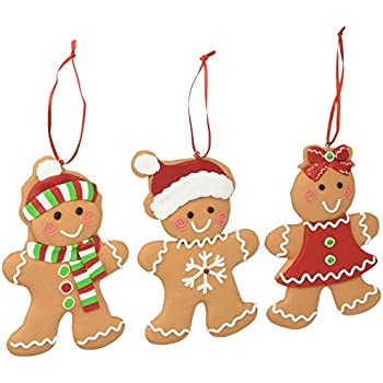 set of 3 gingerbread cookie christmas tree ornaments adorable holiday decor - Gingerbread Christmas Tree Decorations