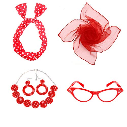 ECOSCO Women's 50's Costume Accessories Set Girls Neck Scarf Bandana Headband Earrings Necklaces Cat Eye Glasses Costumes ()