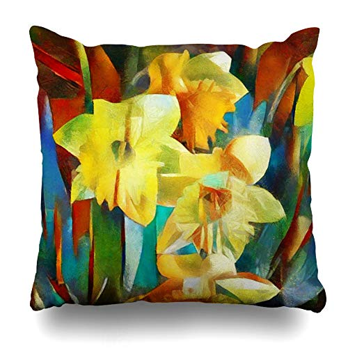 Ahawoso Throw Pillow Cover Dynamic Nouveau Floral Daffodils Made Cubism Abstract Watercolor Artist Brush Bud Pillowcase Standard 20