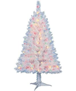 4 ft pre lit multi color white indiana spruce artificial christmas tree by holiday - 4 Foot White Christmas Tree