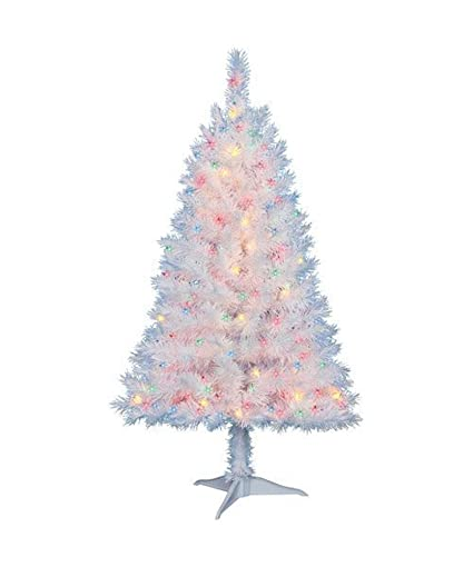 Amazon Com 4 Ft Pre Lit Multi Color White Indiana Spruce Artificial Christmas Tree By Holiday Time Home Kitchen