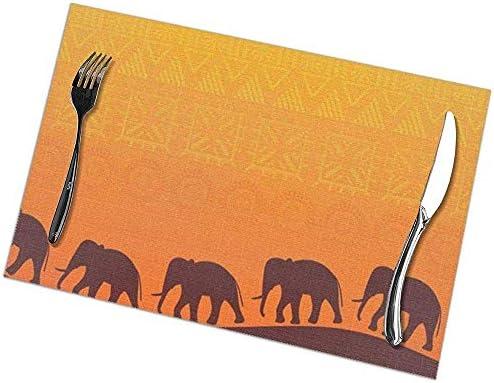 N/A Juego de 6 manteles Individuales africanos para Mesa de Comedor, Aislamiento térmico, tapetes de Cocina Resistentes a Las Manchas, Antideslizantes: Amazon.es: Hogar