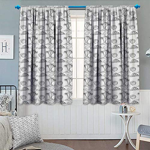 Anhounine Sketch,Blackout Curtain,Sea Island with Palm Trees Boat Turtles Shells Hawaiian Ecology Turtles Scallops,Customized Curtains,Black White,W63 x L72 inch