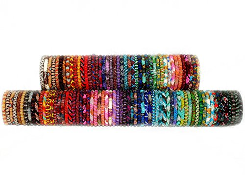 Wholesale Beaded Nepal Roll On Bracelets Assorted SET OF 20- Glass Seed Bead Bracelet Jewelry Handmade in Nepal by Lotus Sky