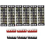 6 Pack Dual Row 6 Position Double Row Screw Terminal Strip 600V 25A + 6 Pack (3 Red,3 Black) 400V 25A 6 Postions Red/Black Pre Insulated Terminal Barrier Strip, Sold by Ltvystore