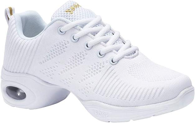 Daytwork Zapatos Danza Mujer - Moderno Jazz Cordones Zapatillas Negro Informal Baile Running Sneaker Aire Libre Suela Dividida Deportes (Los Zapatos Son más pequeños): Amazon.es: Zapatos y complementos