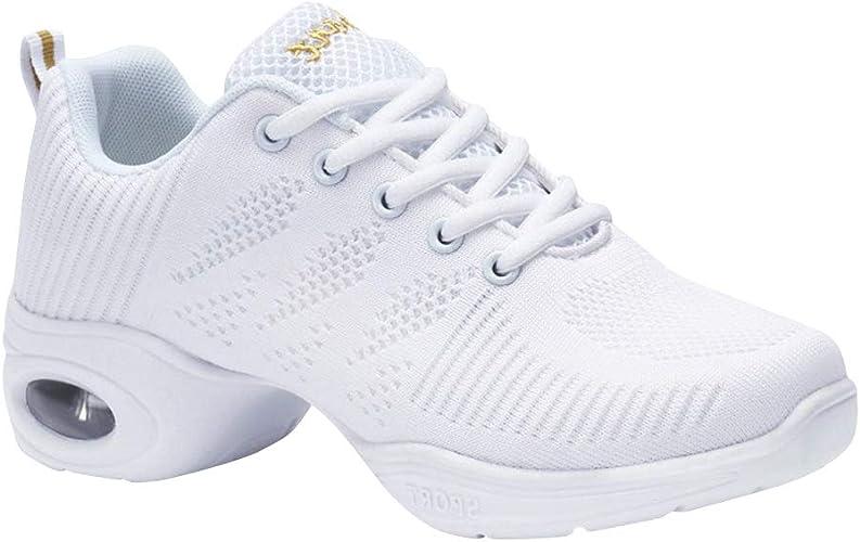 LPATTERN Baskets de Danse pour Femme Sports Chaussures de Danse Cuir en Mesh Respirant Antid/érapant Semelle Souple Moderne Jazz Gym