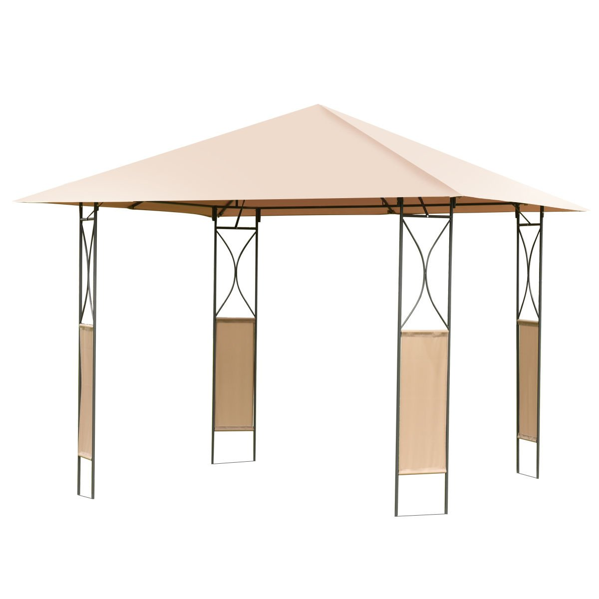 10'x10' Square Gazebo Canopy Tent Shelter Awning Garden Patio W/Brown Cover + FREE E-Book