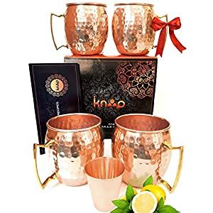 Premium Moscow Mule Mugs Set of 4, Handcrafted,, Hammered Copper Construction for Timeless, Elegant Gift – 16oz Unlined, Copper Cups +FREE Recipe Book and Cocktail Party Guide by Knooop