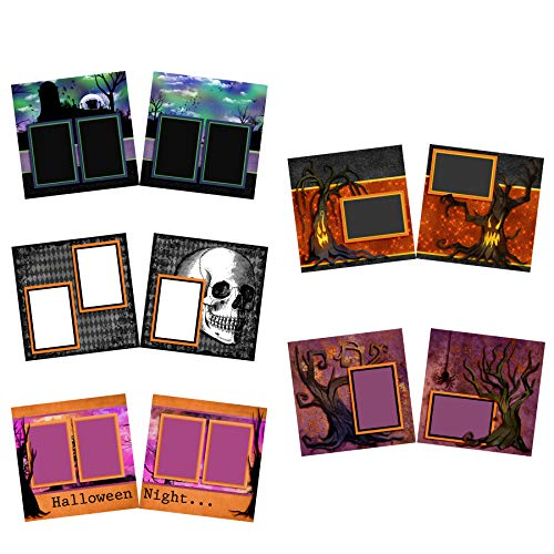 Halloween Night Scrapbook Set - 5 Double Page Layouts -