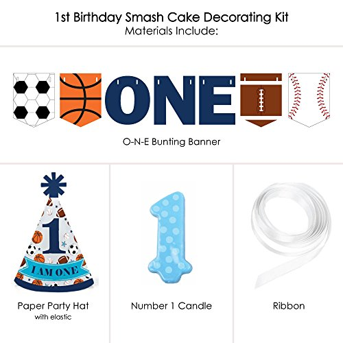 Big Dot of Happiness Go, Fight, Win - Sports 1st Birthday - First Birthday Boy Smash Cake Decorating Kit - High Chair Decorations
