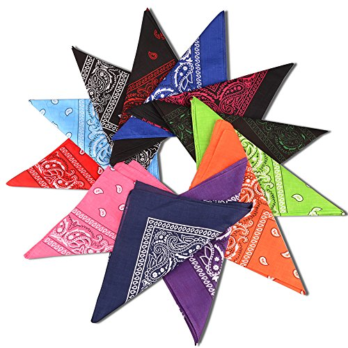 (Alotpower Bandanas Set 100% Cotton Paisley Printing Bandana Handkerchief Head)