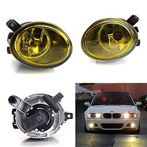 iJDMTOY One Pair Yellow Lens Fog Lights Foglamps w/Halogen Bulbs For 2001-2005 BMW E46 M3, 3 Series w/M-Tech Bumper or 1999-2002 BMW E39 M5 (OEM # 63 17 7 894 -
