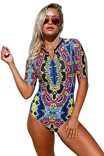 - Alivewise Womens One Piece Swimsuit Zip Front Printed Half Sleeve/Long Sleeve Swimwear