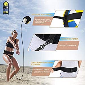 DOACT Volleyball Training Equipment Aids with Adjustable Cords & Waistband for Serving, Spiking, Setting, Hitting and Solo Practice of Arm Swing Rotations, Fits Kids, Teens, Adult and Beach Players by DOACT