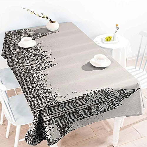Homrkey Washable Table Cloth Vintage London Big Ben Historical Architecture Westminster Bridge Retro Town Illustration Taupe Beige Easy to Clean W60 xL84 -