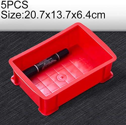 HZG 5 PCS太い多機能素材ボックス フラットプラスチック部品ボックスツールボックス、サイズ:20.7センチメートルX 13.7センチメートルX 6.4センチメートル(ブルー) 職人スペシャルパッケージ (Color : Red)