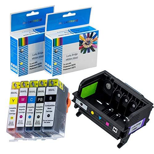 LKB Remanufactured 1PK HP564 Printhead and 5PK HP564 Ink Cartridge 5-Slot Replacement for Printer (Printhead + HP564XL Cartridge)-US ()