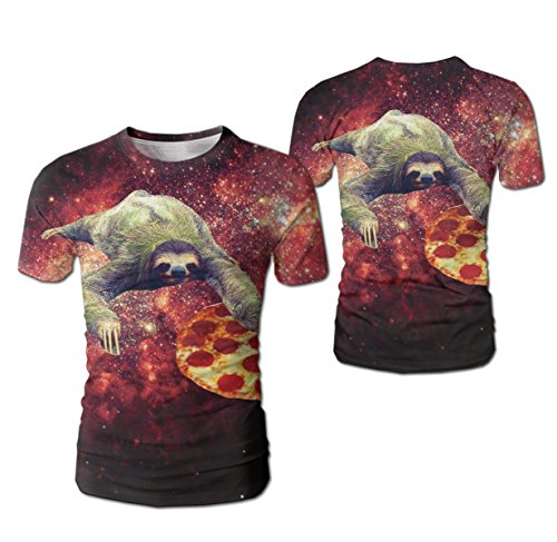 - Men's Tees Unisex Sloth Pizza Star Galaxy 3d Printing T-Shirt Hipster Clothing
