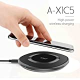 TG90 Wireless Charging Pad Qi Charger 5W Compatible with iPhone X/8/8 Plus 10W Fast Charge Wireless Charger for Samsung Galaxy Note 8/S8/S8 Plus S7/S7 Edge S6 Edge Plus (Black)