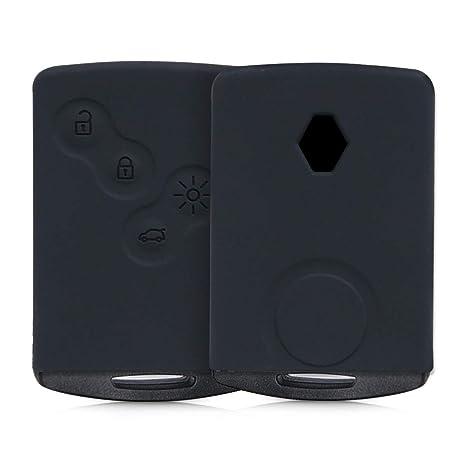 kwmobile Funda de Silicona para Llave de 4 Botones para Coche Renault (Solamente Keyless Go) - Carcasa Protectora [Suave] de [Silicona] - Case Mando ...