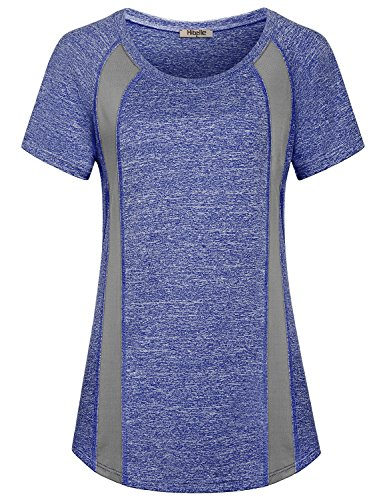 Hibelle Workout Shirts For Women, Ladies Short Sleeve Boat Neck Patterned Fitness Activewear Yoga Running Gym Sports Athletic Tee Cute Casual Polyester Tops For Legging Blue XL