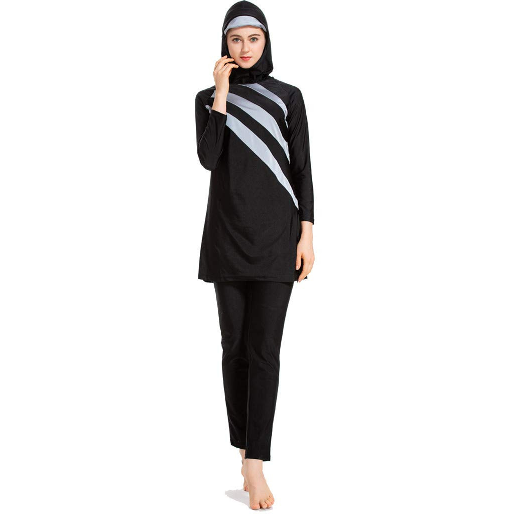 0ce3c8ebe8 Siswong Womens Beachwear Muslim Swimming Costume Two Piece Long Sleeve  Jumpsuit Swimsuits with Cap Trunks Hat Burkini Women Bathing Suit Swimsuit  Hijab ...
