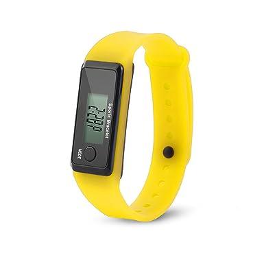 ... Impermeable Reloj Ejecutar Step Watch Pulsera Podómetro Calorie de Contador Digital LCD Distancia Caminando(Amarillo): Amazon.es: Ropa y accesorios
