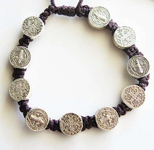 Saint St Benedict of Nursia Silver Tone Medal on an Adjustable BROWN Cord Wrist Bracelet 8 Inch COMMUNION