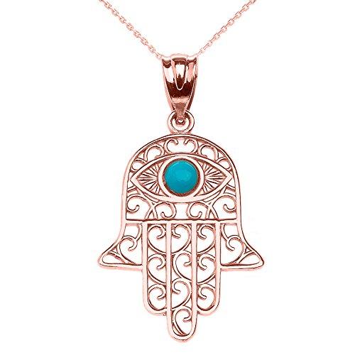 (14k Rose Gold Hamsa Hand With Evil Eye Pendant Necklace 18