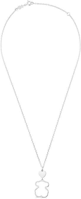 Silueta oso: 1,9 cm Corazon: 0,84 cm TOUS Collar de mujer en plata de primera ley con colgante Longitud cadena 45 cm
