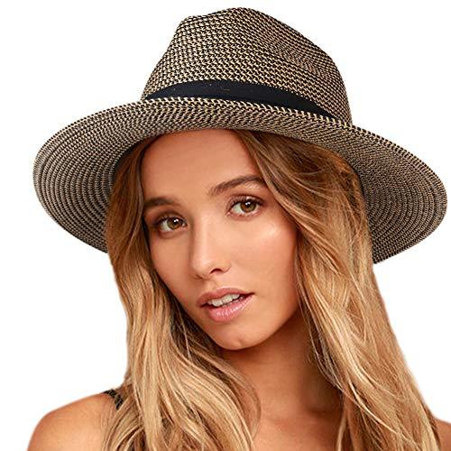 Womens Mens Wide Brim Straw Panama Hat Fedora Summer Beach Sun Hat UPF50
