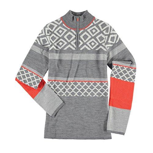 Krimson Klover Excelerator 1/4 Zip Pullover Merino Wool Sport Sweater - (Grey, Small)