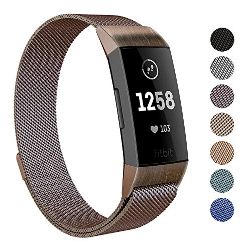 SWEES Metal Bands Compatible Fitbit Charge 3 and Charge 3 SE, Stainless Steel Magnetic Small (5.5